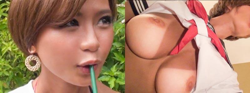 無料エロ動画「下乳の日焼けあとがエロいギャル!小柄な身体でGカップの小麦肌!」の紹介画像
