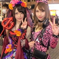 ハロウィン当日!渋谷のセンター街でナンパした小悪魔&ヒョウ柄ギャルと4P乱交w!-のサムネイル画像